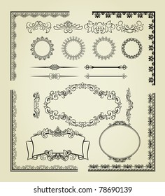 Set of design elements: labels, borders, frames, etc. Could be used for page decoration, certificate, etc