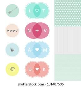 Set of design elements of love
