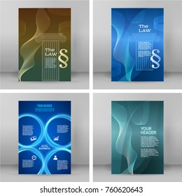 Set Design elements Modern style background for Legal and law firm. Glowing blur light with sign legal law. Vector illustration eps 10. Can be used for cover page brochure lawyer office, notary compan