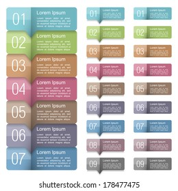 Set of design elements with numbers and place for your text, vector eps10 illustration