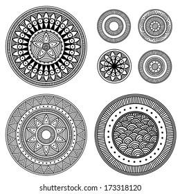 Set of design elements - patterned circles. Black and white, vector illustration.