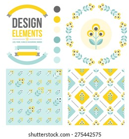 Set of design elements - round floral frame, seamless  patterns, ribbons, flower icon. Scandinavian minimal style. Perfect for invitation, greeting card, save the date, wedding. Vector illustration.