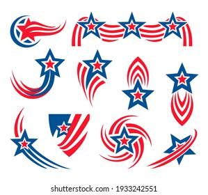 Аmerican set of design elements, Stars and stripes, 4th of July, Flag, Star, Fireworks, Shield, Logo, Stripes design, Sticker set