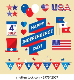 Set design elements for USA Independence Day fourth of July. Vector modern stylish illustration. Layered file