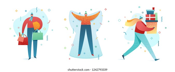Set Design happy new year illustration young character. Cute flat people for christmas banner in modern style. Happy holiday girl and man illustration. Concept isolated female and male poses. Vector.