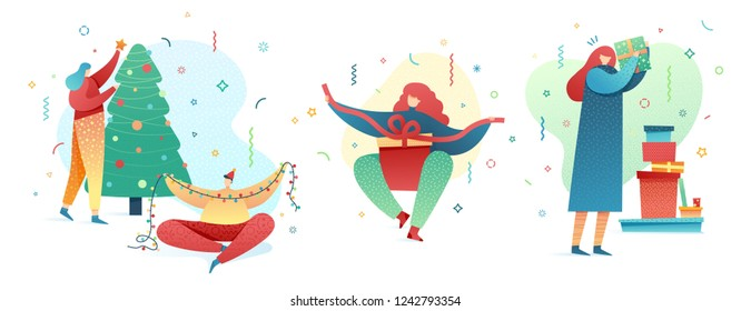 Set Design happy new year illustration young character. Cute flat people for christmas banner in modern style. Happy holiday girl and man illustration. Concept isolated female and male poses. Vector
