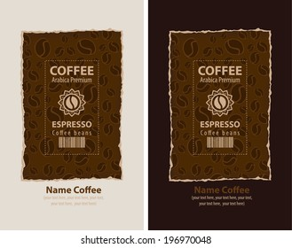 set of design labels for coffee beans