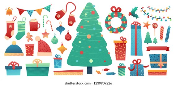 Set design merry christmas element.  New Year flat illustration with tree, gift box, garland, wreath and santa hat. Happy Holiday stuff in trendy flat style. Vector.