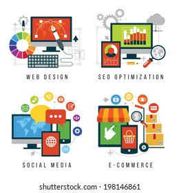 Set design and mobile web services and applications. Vector collection of concepts flat icons for web design, SEO, social media, e-commerce.