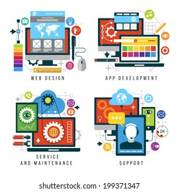 Set design and mobile web services and applications. Vector collection of concepts flat icons for web design, App development, service and maintenance, support
