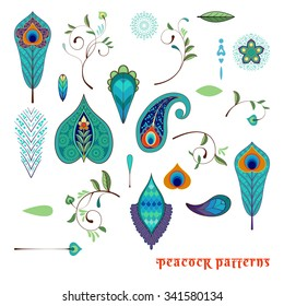 Set for design with peacock feathers, branches, leaves, flowers and decorative elements.