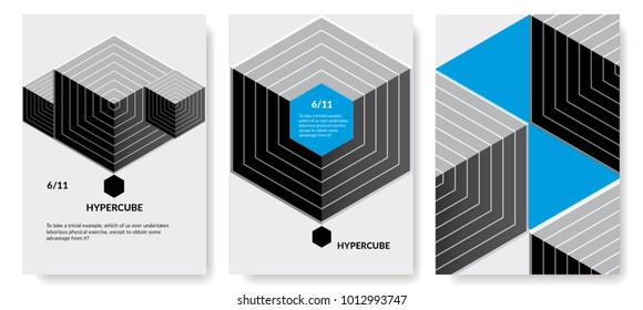 A set of design posters for exhibitions, conferences. Easily transformed, adapted, customized.