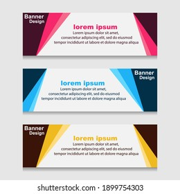 Set of Design Print Banner or Web Template. can be Used for Workflow Layout, Diagram, Web Design, and Label Vector