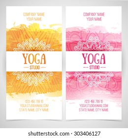 Set design template brochures, cards, invitations, flyers for a yoga studio with watercolor texture and mandala. Vector. Place for your text.