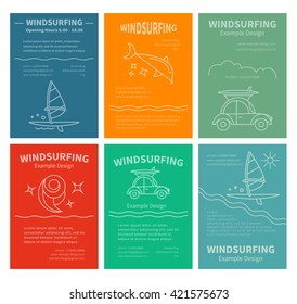 Set of design templates for brochures, flyers Windsurfing. Concept of an active summer holiday. Family holiday