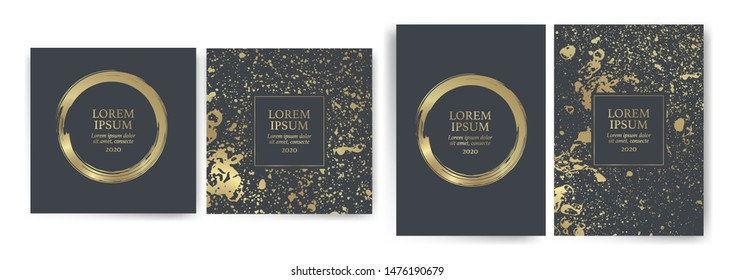 Set of design templates with golden texture background. Suitable for wedding invitations, VIP events and parties, covers, promotions. Cards, flyers, banners, coupons. Artistic, abstract. Vector
