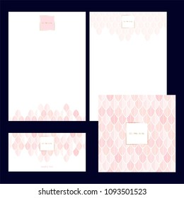 Set design templates. Invitation. Cover of broshure. Blanks. Can be used in perfumery, cosmetic, fashion and beauty industry. Feathers in pastel pink and nude tones.
