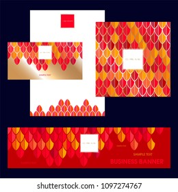 Set design templates. Invitation. Cover of broshure. Blanks. Banner. Can be used in perfumery, cosmetic, fashion and beauty industry. Feathers in red and orange tones.