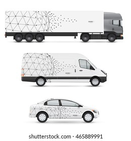 Set of design templates for transport. Mockup of passenger car, bus and van. Branding for advertising and corporate identity. Graphics elements with abstract polygonal sphere.