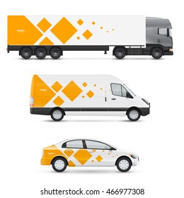 Set of design templates for transport. Mockup of passenger car, bus and van. Branding for advertising and corporate identity. Graphics elements with geometric shapes.