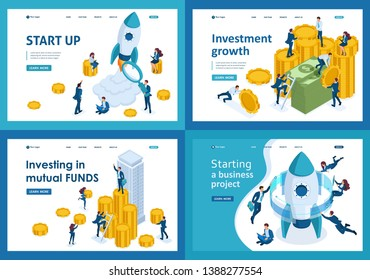 Set design web page templates of investment in business project start up. Modern illustration concepts for website and mobile website development.
