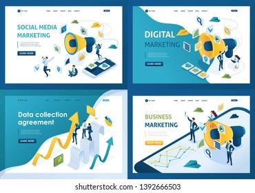 Set design web page templates of business marketing. Modern illustration concepts for website and mobile website development.