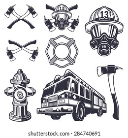 Set of designed firefighter elements. Monochrome style