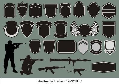 Set for designing of military badges