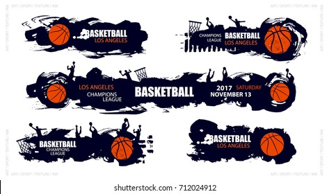 Set designs for basketball, abstract, brush, grunge style. Hand drawing.