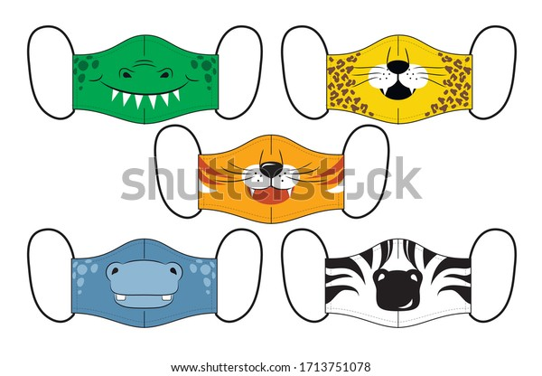 Set of designs o reusable mouth kids funny masks with jungle animals faces in vector