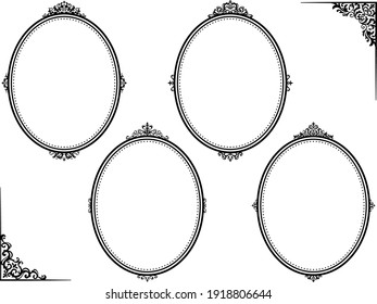 A set of designs of oval frames with European classic style decorations