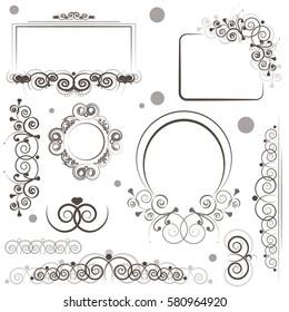 set of designs for postcards, popular