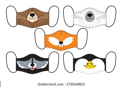 Set of designs of reusable mouth kids funny masks with woodland animals faces in vector