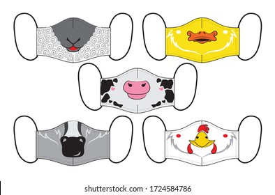 Set of designs reusable mouth kids funny masks with farm animals faces in vector
