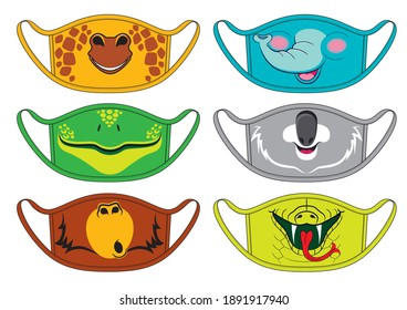 Set of designs reusable mouth kids funny masks with giraffe, elephant, koala, frog, monkey and snake faces in vector