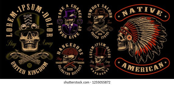 Set of designs with skulls in different styles such as steampunk, western, gangster and other. Perfect for the t-shirt designs, stickers and many other.