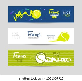 Set designs for tennis. Modern abstract background, hand drawing, textures, geometry. Collection of sports banners, abstract ball. EPS file is layered.