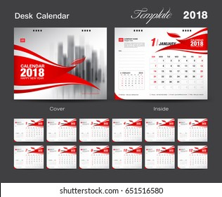 Set Desk Calendar 2018 template design, Red cover, Set of 12 Months, Week start Sunday, advertisement layout