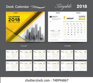 Set Desk Calendar 2018 template design, Yellow cover, Set of 12 Months, Week start Sunday