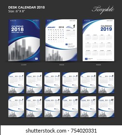 Set Desk Calendar 2018 template design, blue cover, Set of 12 Months, Week start Sunday