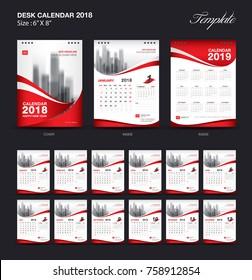 Set Desk Calendar 2018 template design, red cover, Set of 12 Months, Week start Sunday
