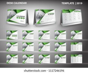 Set Desk Calendar 2019 template design vector and desk calendar 3d mockup, cover design, Set of 12 Months, Week starts Sunday, Stationery design, flyer layout, printing media, publication template