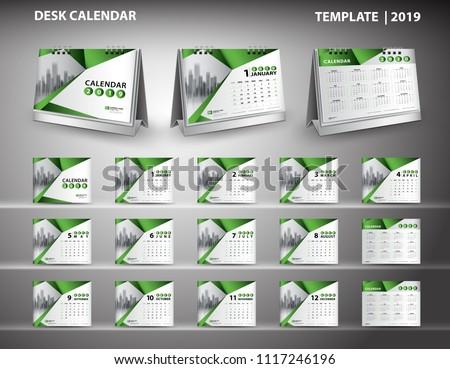 set desk calendar 2019 template design stock vector royalty free