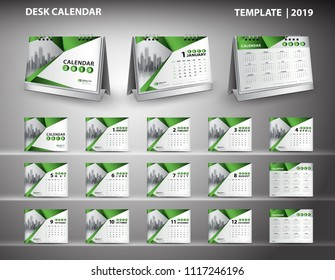 Set Desk Calendar 2020 template design vector and desk calendar 3d mockup, cover design, Set of 12 Months, Week starts Sunday, Stationery design, flyer layout, printing media, publication template