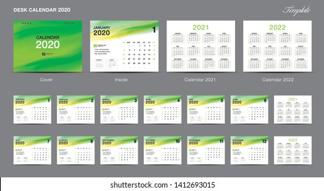 Set Desk Calendar 2020 template design vector, Calendar 2020, 2021, 2022,  cover design, Set of 12 Months, Week starts Sunday, Stationery design, flyer, printing layout, publication, advertisement