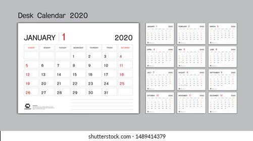 Set Desk Calendar 2020 template Vector, Week Start On Sunday, Planner, Stationery, Printing, advertisement