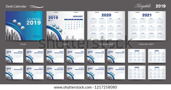 Desk Calendar 2020.Set Desk Calendar 2020 Template Design Stock Vector Royalty Free