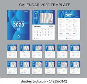 Set Desk Calendar 2020 Vector, Calendar 2021 Design, Week Start On Sunday, Planner, Stationery, Printing, vertical artwork