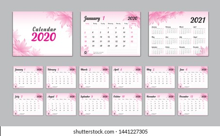 Set Desk Calendar 2020 Vector, Calendar 2021 Design, Week Start On Sunday, Planner, Stationery, Printing, advertisement, flower concept