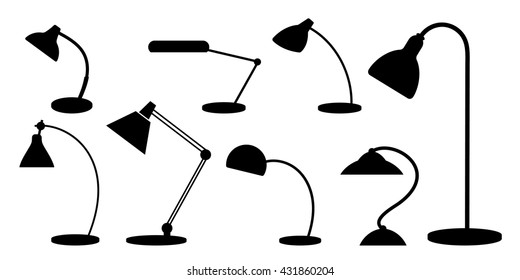 Set of desk lamps. Silhouettes. Monochrome.